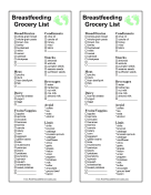 Breastfeeding Grocery List