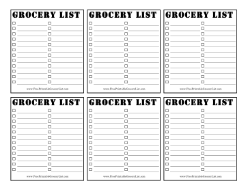 6 Blank 2-Column Grocery Lists