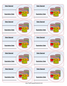 Canned Goods Expiration Labels