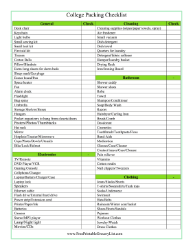 Printable College Packing Checklist