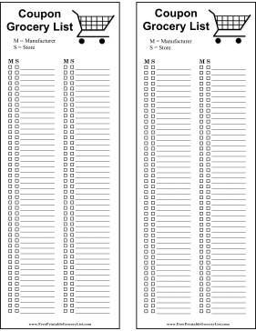 Printable Grocery Lists  Blank Grocery List Templates