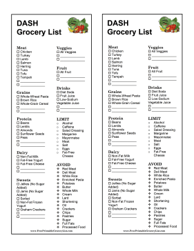 DASH Grocery List