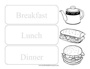 Daily Kid Colorable Menu Planner