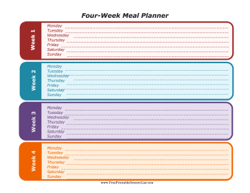 Four Week Meal Planner