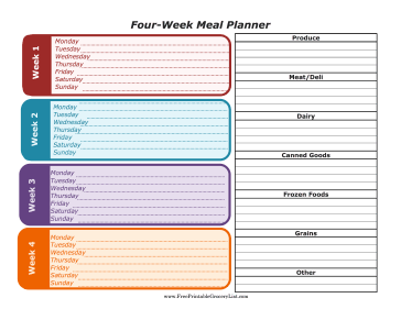 printable four week meal planner with grocery list