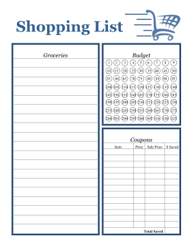 ... list budget and coupon section adorn this printable shopping list