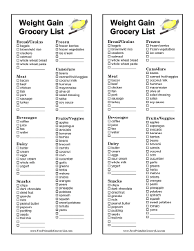 printable grocery list for gaining weight