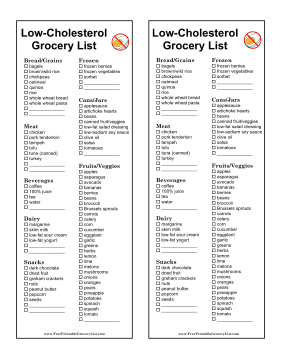photo regarding Printable Low Cholesterol Food List known as Printable Grocery Record For Large Cholesterol