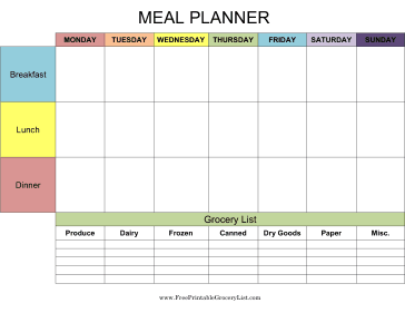 printable grocery list meal planner