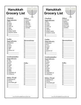 Hanukkah Grocery List