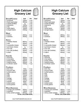 High Calcium Grocery List