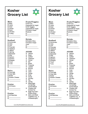 Kosher Grocery List