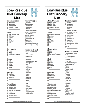 Low-Residue Diet Grocery List