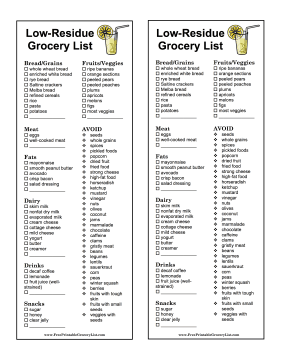printable low-residue grocery list, Skeleton