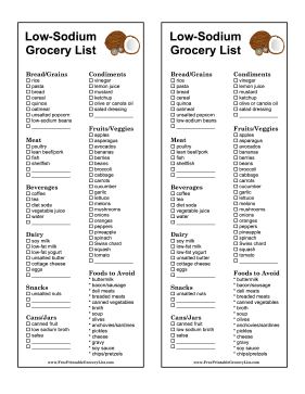 Low-Sodium Grocery List