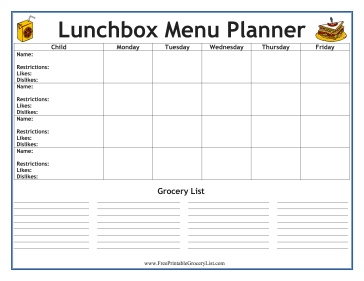 Lunchbox Menu Planner