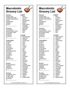 Macrobiotic Grocery List