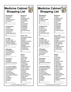 Medicine Shopping List