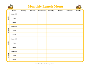 Monthly Lunch Menu Planner