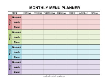 Printable monthly menu planner color for Monthly dinner calendar template