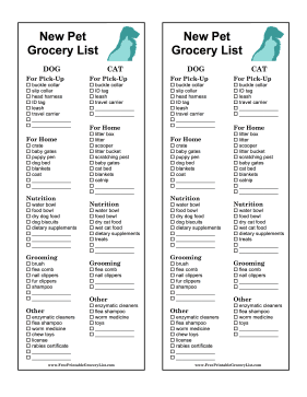New Pet Grocery List