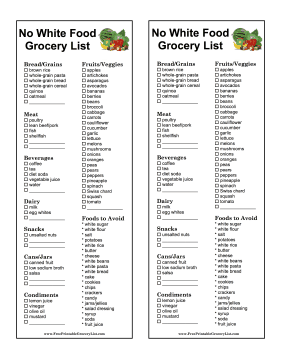 Printable No White Food Grocery List