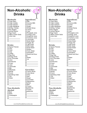 Non-Alcoholic Beverage Grocery List