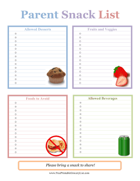 Parent Snack List