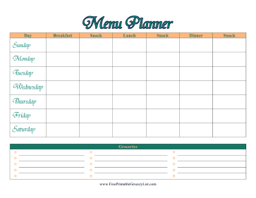Six-A-Day Menu Planner