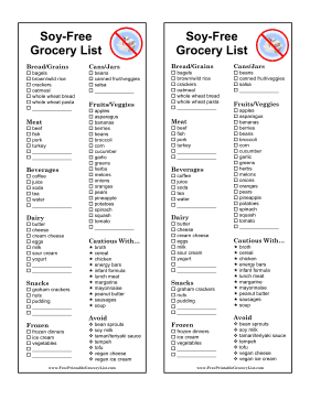 Soy Free Grocery List
