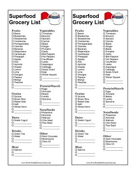 Superfood Grocery List