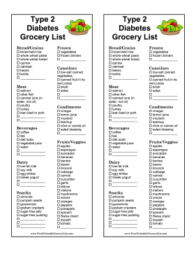 Type 2 Diabetes Grocery List