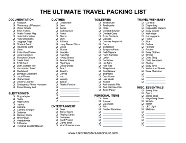 Ultimate Travel Packing List