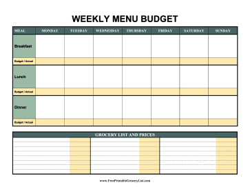 Weekly Menu Budget Color