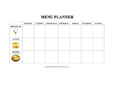 Illustrated Weekly Menu Planner