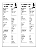 Backpacking Grocery List