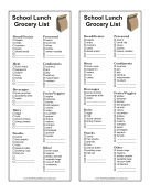 School Lunch Grocery List